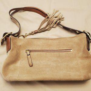 COACH Light Brown Suede Shoulder Bag #1421